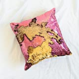 Mermaid Pillow with Insert Pink Gold Holographic Flip Sequin 16x16 Decorative Throw Pillow, Magic Glitter Reversible Color Changing Throw Pillow Cushion Shams for room, Sofa, bedroom and living room decor