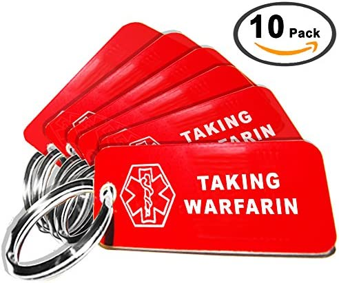 My Identity Doctor – 10 Pre-Engraved Taking Warfarin Plastic Medical Alert ID Keychains, 2.25 x .79 Inch – Made in USA
