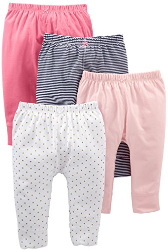 Simple Joys by Carter's Baby Girls' 4-Pack Pant, Navy Stripe, White Dot, Pink, 6-9 - Pant Girls Stripe