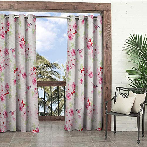 Linhomedecor Garden Waterproof Curtains Hummingbirds Hummingbirds and Bouquets Magnolias Roses Pattern Floral Print Pink Red Pale Green doorways Grommets Cabana Curtains 96 by 84 inch