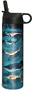 Tree-Free Greetings Sportiva Stainless Steel Tumbler Double-Walled and Vacuum Insulated Cup with Straw, 17 Ounce, Shark Collage