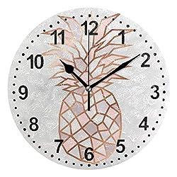 Pineapple Clocks for Living Room Decor 9.5 Inch Decorative Wall Clock Non-Ticking Silent Clock