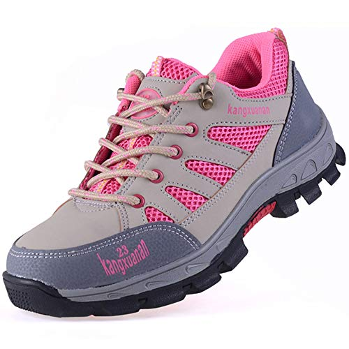 SITAILE Industrial Steel Toe Shoes for Women and Men Slip Resistant Safety Shoes Puncture Proof Work Sneaker Shoes Pink Size 8 Women/6.5 Men (Women Steel Toe Tennis Shoes)