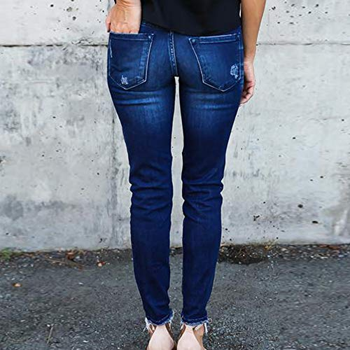 Denim Push Skinny Fonc laamei Leggings Femme Pantalons Collants Jeans Pantalon Bleu Taille Dchirs Haute Up Crayon SwRv8w