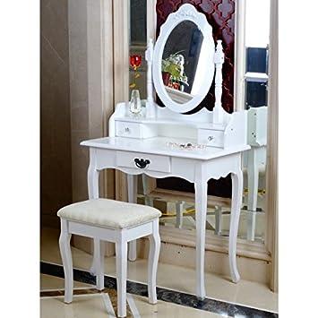 huge selection of 27f63 276e5 AVC Designs Elegant White Dressing Table, Oval Mirror & Stool Set (3  Drawer) Bedroom Dresser Makeup Desk Vanity Table