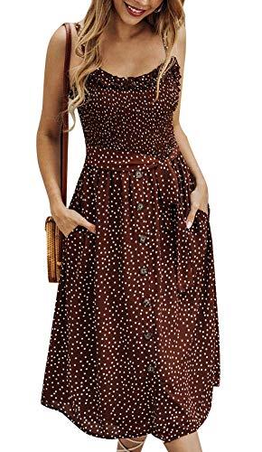 (Womens Summer Boho Beach Midi Dress Casual Vintage Spaghetti Strap Swing Sundress Polka Dot Brown)