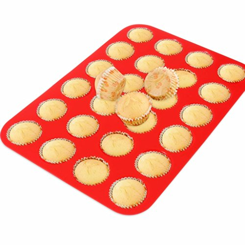 3 Pack Silicone Mini Muffin Cupcake Pan Silicone Molds, Non Stick 24 Silicone Baking Cups by Sunforest (Image #4)