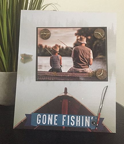 (Gone Fishing - Magnetic Picture Frame Handmade Father Father's Day Gift Dad Husband Present Home Decor by Frame A Memory Size 9 x 11 Holds 5 x 7 Photo)