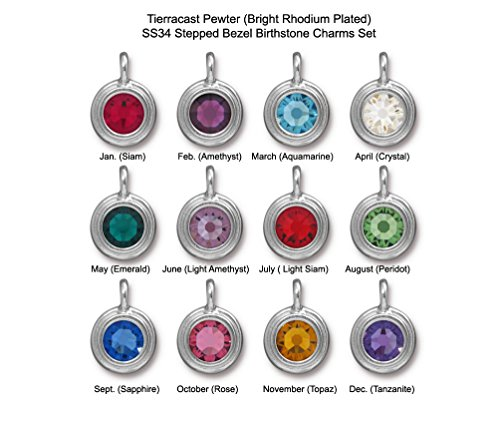 - 12pc Set of TierraCast Birthstone Charms Silver Tone Pewter SS34 Stepped Bezel