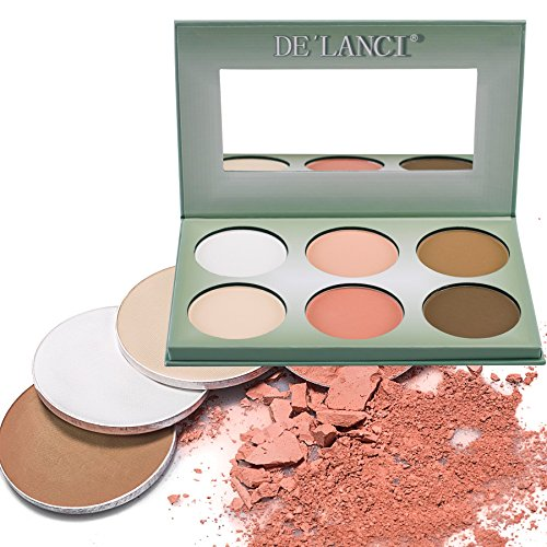 DE'LANCI Pro 6 Colors Powder Contour Palette Face Foundation Highlighting Makeup Palette Pro Coverage Camouflage Concealer Powder Highlighter Kit Make Up Set with Mirror - Gift (White Face Makeup Powder)