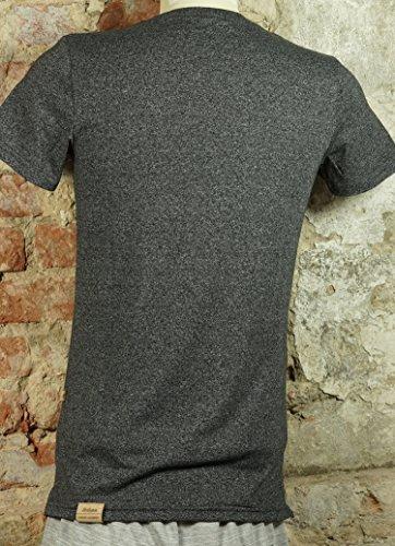 Urban Garment T-Shirt | Slimfit Kurzarm T-Shirt for Men | Redrum Fashion Oberteil | anthrazit meliert mit Rundkragen | Größe S - XL | Modell Lecco