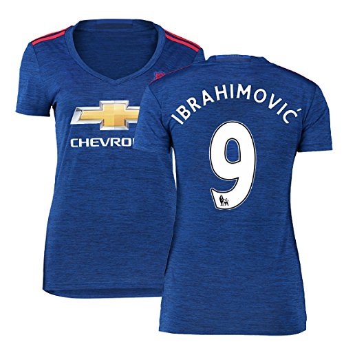 FC Football Jersey Manchester United Soccer Jersey Away Shirt 2016-17 Womens #9 Ibrahimovic Blue S