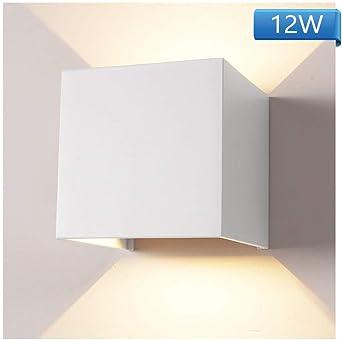 IP65 Wasserdichte Aluminiumgeh/äuse Wandbeleuchtung f/ür Wohnzimmer Schlafzimmer Badezimmer K/üche Esszimmer 12W 6000K Auf//ab Wandlampe mit Einstellbar Abstrahlwinkel LED Wandleuchte Innen//Aussen