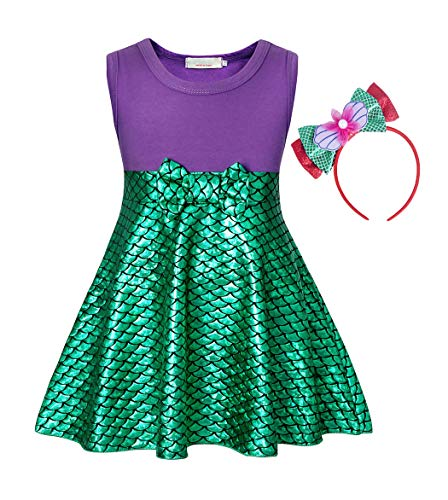 AmzBarley Mermaid Costume for Girls Ariel Costume Outfit Little Kids Birthday Theme Party Cosplay Clothes Fish Scale Sleeveless Bowknot Dresses with Headband Size 3-4 Years