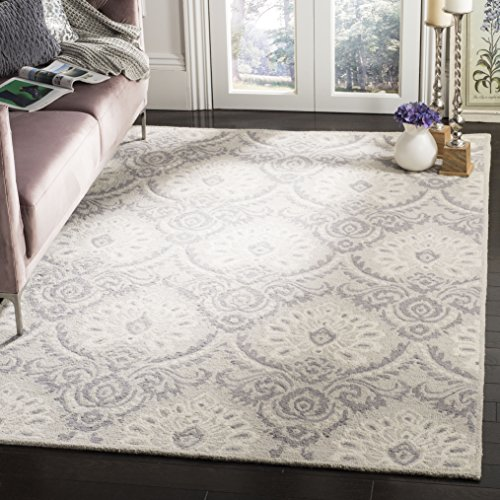 Safavieh Blossom Collection BLM106A Floral Vines Light Grey and Ivory Premium Wool Area Rug (8' x 10')