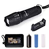 HUNTER COAST Tactical Led Flashlight Portable Bright Handheld Zoomable Torch Flashlights with 5 Modes and Rechargeable Batteries