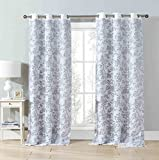 "Set of Two (2) Cotton Blend Gray and White Window Curtain Panels: Bird and Tree Branch Burnout Design, Double Layer, 76""W x 84""L For Sale"