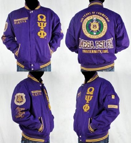 (BIG BOY Mens Omega PSI PHI Zip- Up Embroidered Jacket Size 5X )