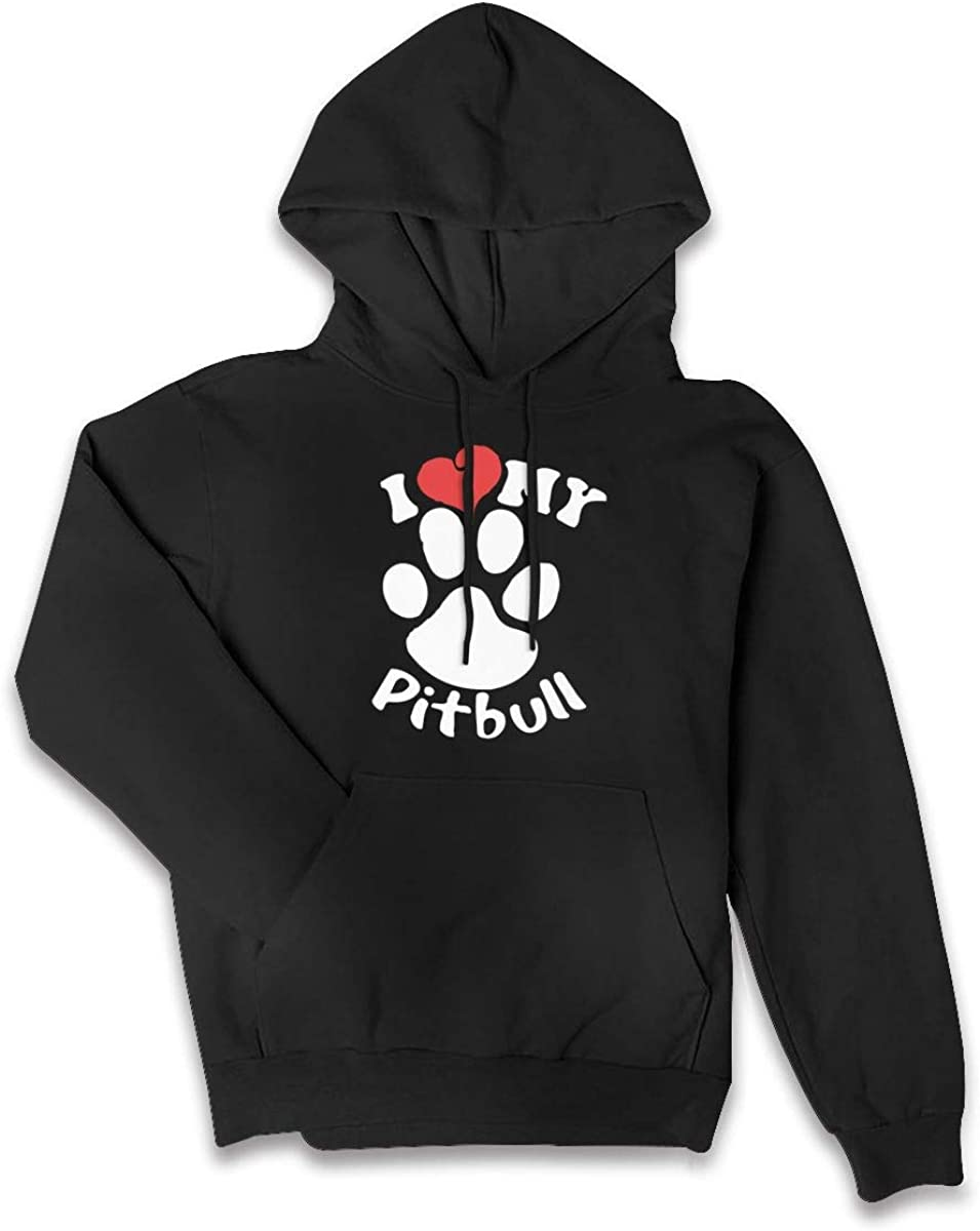 I Love My Pitbull Staffy Terrier Dog-1 Kanga Pocket Sweater Womens EcoSmart Hoodies