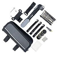 YOUYOUTE Bike Repair Kits with Pressure Gauge Pump, Mini Bicycle Pump 120 PSI with Smart Valve, Fits Schrader Presta, Bike Flat Tire Repair Tools with Bag