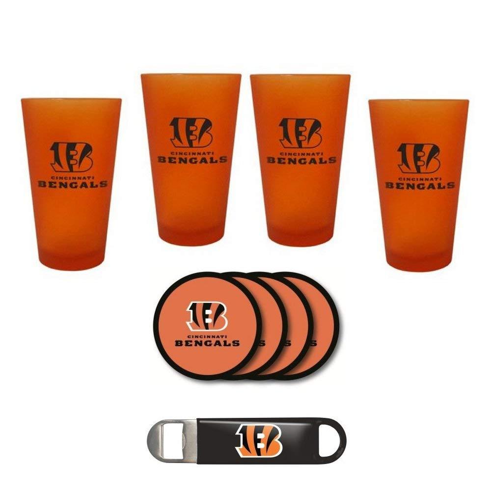 Bengals - Color Frost Pint Glasses, Coasters & Bottle Opener Set | Cincinnati Bengals Frosted Glass Gift Set