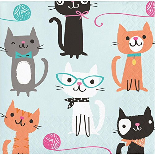 Club Pack of 192 Multicolored Cat Printed Disposable Beverage Napkins 5'' by Party Central