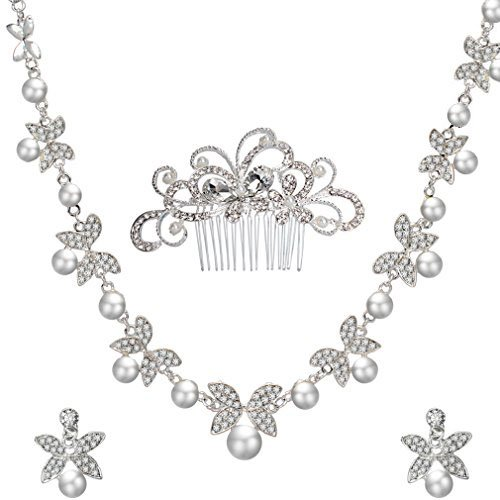 ANBALA Bridal Wedding Hair Comb, Crystal Rhinestones Pearls Women Wedding Hair Comb with 1 Set Wedding Necklace Earrings Decoration Headpiece Jewelry Set for Brides (Style (Crystal Pearl Silver Necklace Earrings)