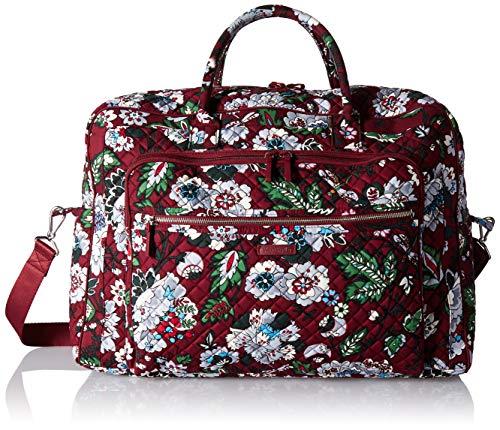 Vera Bradley Iconic Grand Weekender Travel Bag, Signature Cotton, Bordeaux Blooms