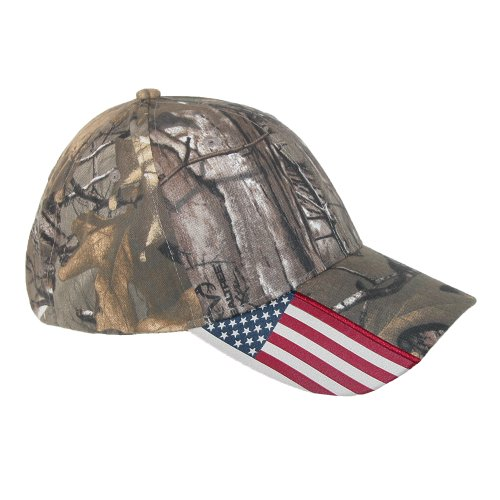 Realtree Xtra Camo and American Flag Baseball Hat, Camo w/ USA Flag