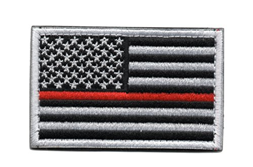 Tactical American Flag Patch Thin Red Line Embroidered Milit