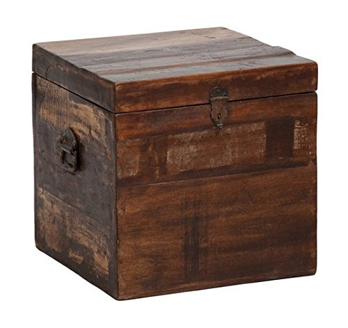 Bali Small Unique Recycled Reclaimed Wood Box End Table with Storage - Side Table Traditional Style - Recycled Wood Table