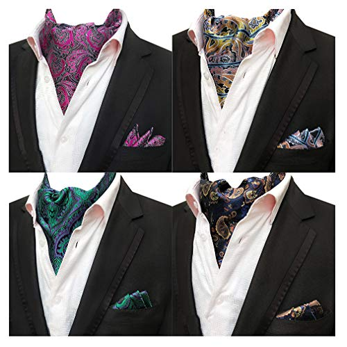 MOHSLEE Mens 4 Pack Paisley Striped Cravat Ascot Scarf Necktie Pocket Square Set