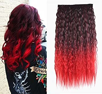 Amazon Com 22 Curly Black To Red Two Colors Ombre Hair Extensions