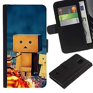 KingStore / Leather Etui en cuir / Samsung Galaxy S5 Mini, SM-G800 / Figurita 3D Amistad camping Juego de Arte