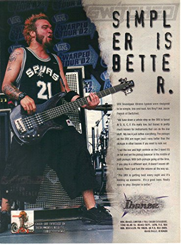 "Magazine Print Ad: 2002 Jason French, Switched, Ibanez SRX Soundgear Xtreme Bass,""Simpler is Better"""