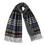 Johnstons Of Elgin Mens 100% Cashmere Reversible Scarves (Check Gunclub 5946)