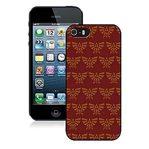 Fashionable DIY Custom Designed Zelda Pattern Red Cover Case For iPhone 5S Black Phone Case CR-703