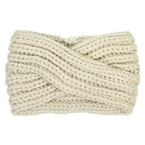 by you Women's Soft Knitted Winter Headband Head Wrap Ear Warmer (Twisted-Ivory)
