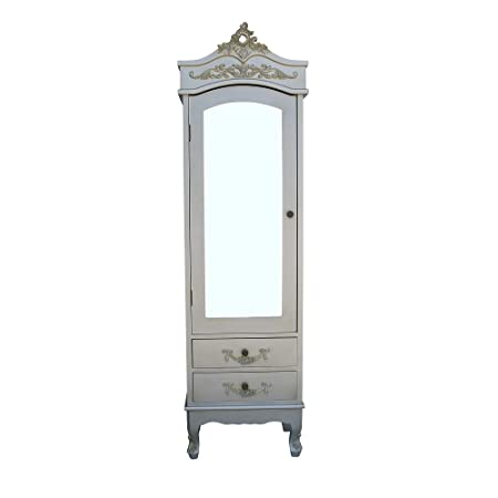 French Antiqued Silver Single Armoire With Full Mirror Door Shabby Chic  Wardrobe (Silver)