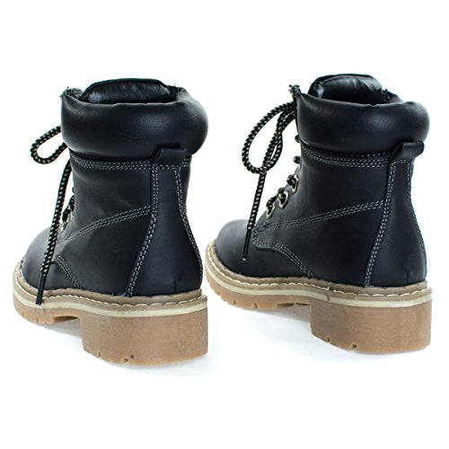 Children Fashion Work Bootie Lace Up Lug Threaded Sole, Kid Girl Boy Black