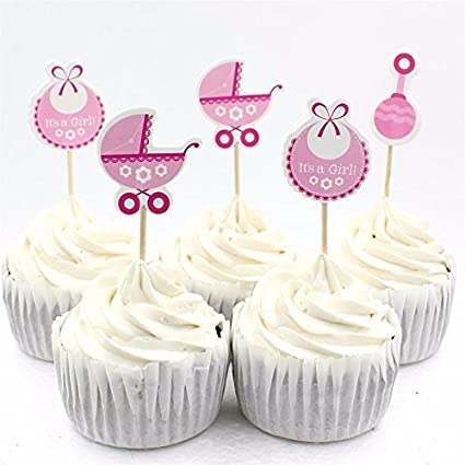 Amazon Set Of 18 Its A Girl Cupcake Toppers Baby Shower Cakes