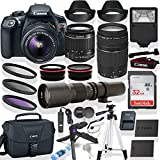 Canon EOS Rebel T6 DSLR Camera w/Canon 18-55mm & 75-300mm Lens + 500mm Preset Lens + Steady Grip Tripod + 0.43x Wide Angle Lens + 2X Telephoto Lens + 32GB Memory Card + Filter Kit + Accessory Bundle