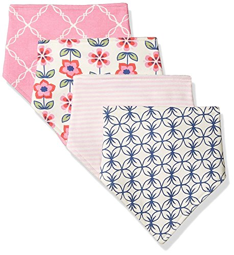 Touched by Nature Baby Organic Cotton Bandana Bibs, Flower 4Pk, 0-9 Months