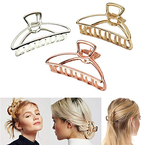IPINK Womens Vintage Metal Claw Hair Clip Antique Silver,Champagne