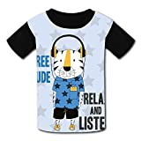 riverccc6.1500 Cute Tiger Relax and Listen Youth T-Shirt Boys Girls Tee