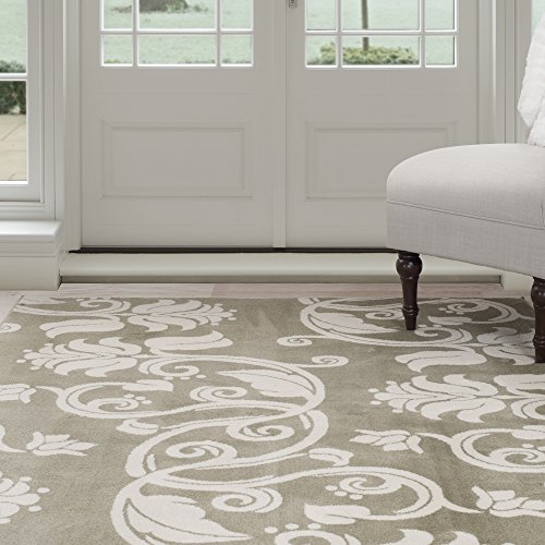 Lavish Home Floral Scroll Area Rug, 4′ by 6′, Green/Ivory For Sale