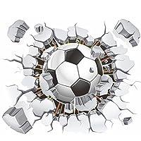 AWAKINK Balón de fútbol Fútbol Roto decorativo 3D Vinilo Pegatinas de pared Pegatinas de pared Decoraciones extraíbles para la sala de estar Habitación para niños Bebé Guardería Dormitorio para niños