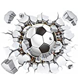 great sports wall decals AWAKINK Soccer Ball Football Broken 3D Decorative Peel Vinyl Wall Stickers Wall Decals Removable Decors for Living Room Kids Room Baby Nursery Boys Bedroom