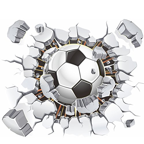 AWAKINK Soccer Ball Football Broken 3D Decorative Peel Vinyl Wall Stickers Wall Decals Removable Decors for Living Room Kids Room Baby Nursery Boys Bedroom -