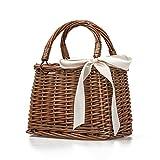 Rattan Woven Bag Retro Style Handbag Beach Bag Storage Basket Lunch Box Bag Women Tote Bag Storage Bag Organizer